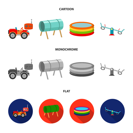 Machine for radio control, tunnel, trampoline, swing. Playground set collection icons in cartoon,flat,monochrome style vector symbol stock illustration web.