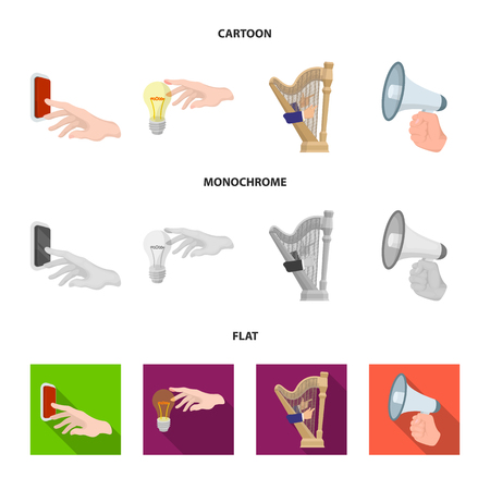 Electric switch button, incandescent lamp and other web icon in cartoon,flat,monochrome style. harp playing, Megaphone in hand icons in set collection.