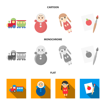 Train.kukla, picture.Toys set collection icons in cartoon,flat,monochrome style vector symbol stock illustration web.