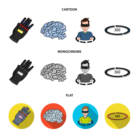 Technology, innovation, man, complemented .Virtual reality set collection icons in cartoon,flat,monochrome style vector symbol stock illustration web.