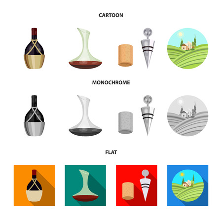 A bottle of wine in a basket, a gafine, a corkscrew with a cork, a grape valley. Wine production set collection icons in cartoon,flat,monochrome style vector symbol stock illustration web. Foto de archivo - 106314340
