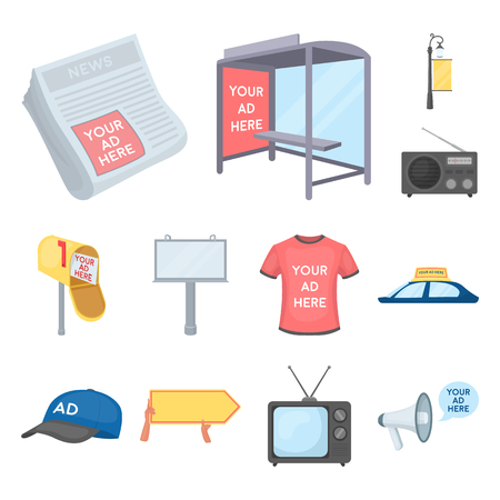 Production of advertising cartoon icons in set collection for design. Advertising equipment vector symbol stock web illustration. 版權商用圖片 - 106314343