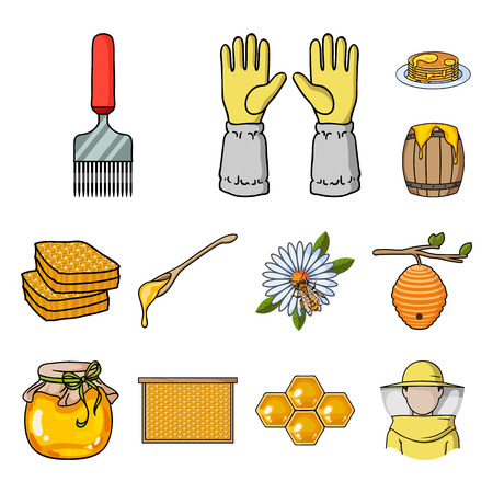 Apiary and beekeeping cartoon icons in set collection for design.Equipment and production of honey vector symbol stock web illustration.