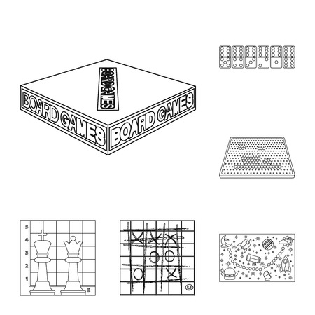 Board game outline icons in set collection for design. Game and entertainment bitmap symbol stock  illustration. Banco de Imagens