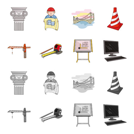 Construction crane, measuring tape measure, drawing board, computer. Architecture set collection icons in cartoon,monochrome style bitmap symbol stock illustration . 写真素材