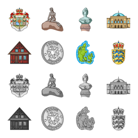 House, residential, style, and other  icon in cartoon,monochrome style. Country, Denmark, sea icons in set collection Stock fotó