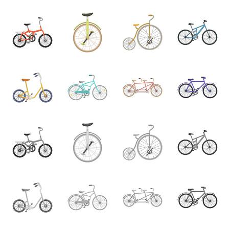 Rower dla dzieci, podwójny tandem i inne typy. Różne rowery zestaw kolekcji ikon w kreskówce, symbol mapy bitowej w stylu monochromatycznym ilustracji.