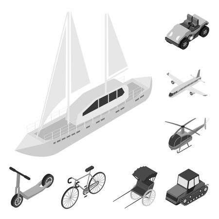 Verschiedene Arten von monochromen Transportsymbolen in Set-Sammlung für Design. Isometrische Bitmap-Symbolvorratillustration des Autos und des Schiffes.