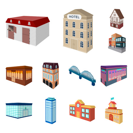 Building and architecture cartoon icons in set collection for design.The building and dwelling bitmap isometric symbol stock  illustration.