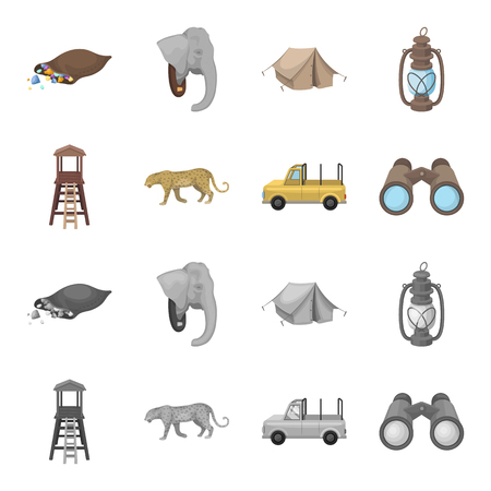 Observation tower for the hunter, leopard, hunting machine, binoculars. African safari set collection icons in cartoon,monochrome style bitmap symbol stock illustration .