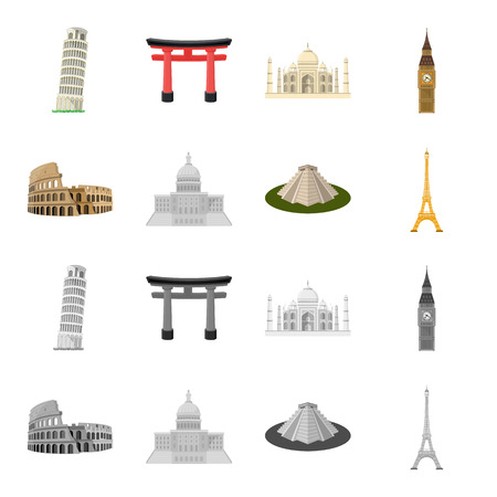 Sights of different countries cartoon,monochrome icons in set collection for design. Famous building bitmap symbol stock  illustration. Stock Photo