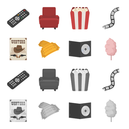 Western cinema, tickets, sweet cotton wool, film on DVD.Filmy and cinema set collection icons in cartoon,monochrome style bitmap symbol stock illustration .