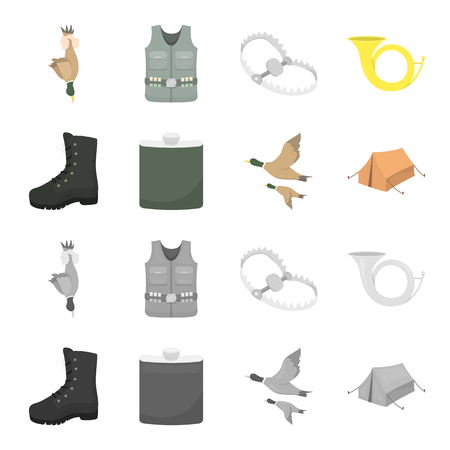 A trophy in his hand, a steel trap, a hunting vest with patronage, a horn..Hunting set collection icons in cartoon,monochrome style bitmap symbol stock illustration .