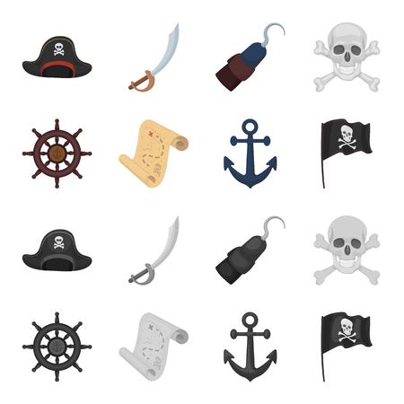 Pirate, bandit, rudder, flag .Pirates set collection icons in cartoon,monochrome style bitmap symbol stock illustration web.