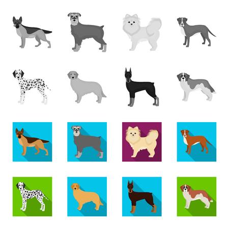 Dog breeds monochrome,flat icons in set collection for design.Dog pet bitmap symbol stock web illustration.