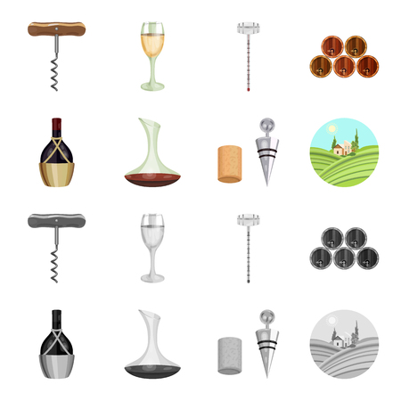 A bottle of wine in a basket, a gafine, a corkscrew with a cork, a grape valley. Wine production set collection icons in cartoon,monochrome style bitmap symbol stock illustration web. Foto de archivo - 106181520