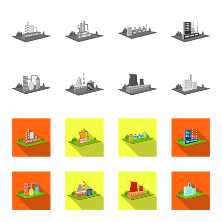 Processing factory,metallurgical plant. Factory and industry set collection icons in monochrome,flat style isometric bitmap symbol stock illustration web. Stock Photo