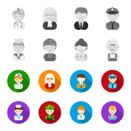 Sailor, soldier, scientist, builder.Profession set collection icons in monochrome,flat style bitmap symbol stock illustration web.