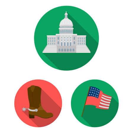 USA country flat icons in set collection for design.Travel and attractions vector symbol stock web illustration.