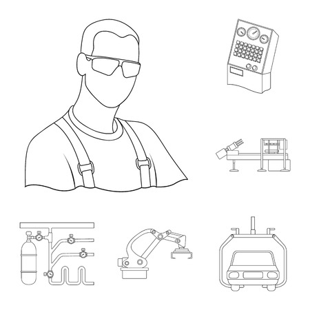 Equipment and machine outline icons in set collection for design.Technical progress of the factory vector symbol stock web illustration. Иллюстрация