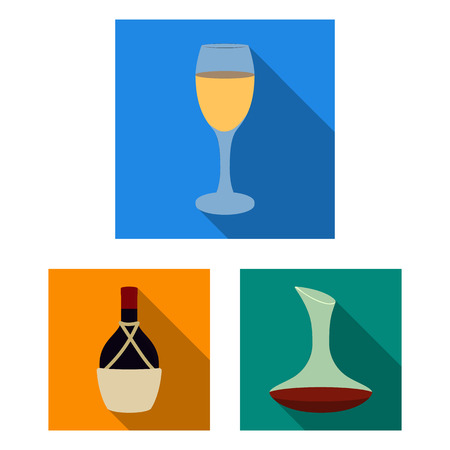 Wine products flat icons in set collection for design. Equipment and production of wine vector symbol stock web illustration.