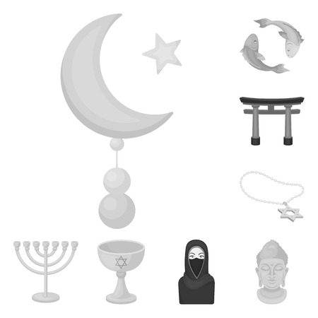 Religion and belief monochrome icons in set collection for design. Accessories, prayer vector symbol stock web illustration.