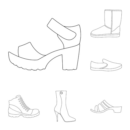 Different shoes outline icons in set collection for design. Men and women shoes vector symbol stock web illustration.