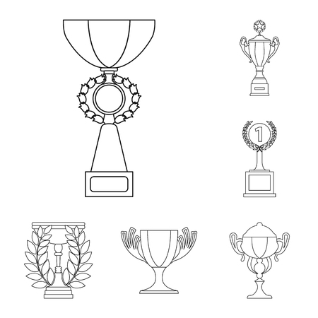 Gold Cup outline icons in set collection for design. Winners Cup vector symbol stock web illustration. 일러스트