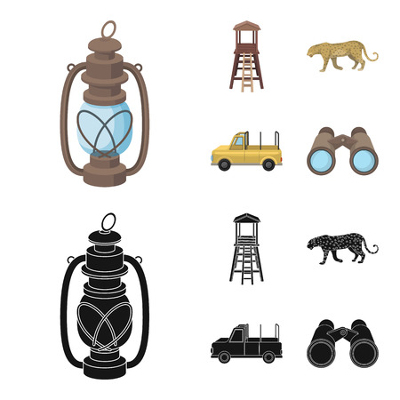 Observation tower for the hunter, leopard, hunting machine, binoculars. African safari set collection icons in cartoon,black style vector symbol stock illustration web.