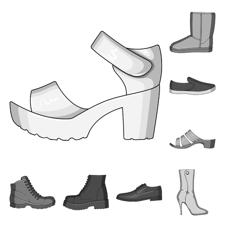 Different shoes monochrome icons in set collection for design. Men and women shoes vector symbol stock web illustration.