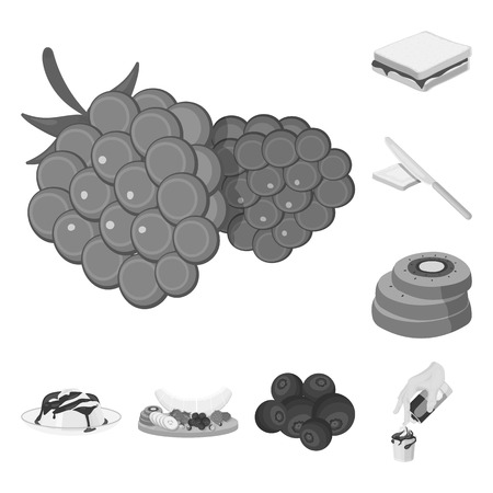 Dessert fragrant monochrome icons in set collection for design. Food and sweetness vector symbol stock web illustration.