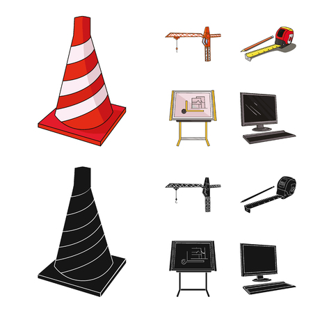 Construction crane, measuring tape measure, drawing board, computer. Architecture set collection icons in cartoon,black style vector symbol stock illustration web.
