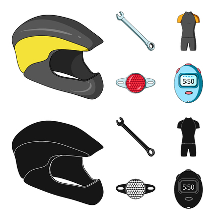 A wrench, a bicyclist bone, a reflector, a timer.Cyclist outfit set collection icons in cartoon,black style vector symbol stock illustration web.