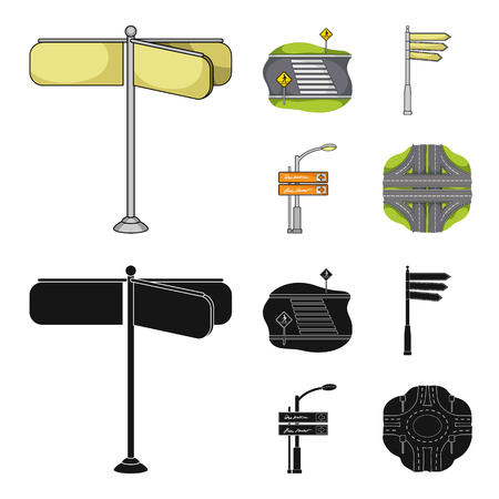 Direction signs and other web icon in cartoon,black style.Road junctions and signs icons in set collection.
