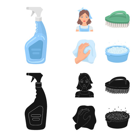 A cleaning woman, a housewife in an apron, a green brush, a hand with a rag, a blue wash hand basin with foam. Cleaning set collection icons in cartoon,black style vector symbol stock illustration web. Illustration