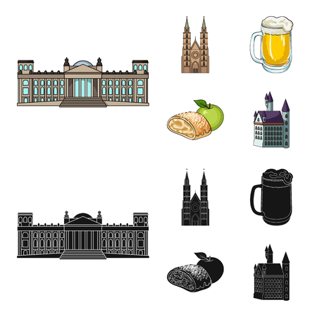 Country Germany cartoon,black icons in set collection for design. Germany and landmark vector symbol stock web illustration.