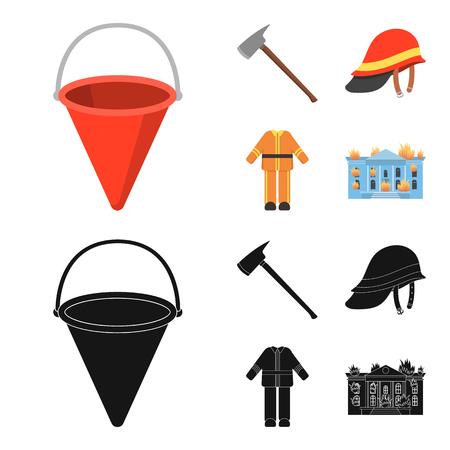 Ax, helmet, uniform, burning building. Fire departmentset set collection icons in cartoon,black style vector symbol stock illustration web.