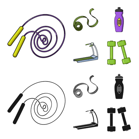 Measuring tape, water bottle, treadmill, dumbbells. Fitnes set collection icons in cartoon,black style vector symbol stock illustration web.