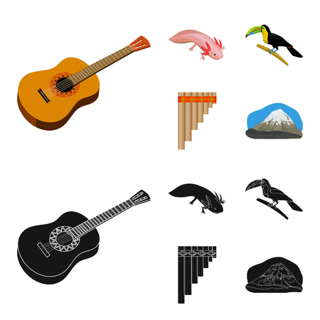 Sampono Mexican musical instrument, a bird with a long beak, Orizaba is the highest mountain in Mexico, axolotl is a rare animal. Mexico country set collection icons in cartoon,black style vector symbol stock illustration web. Illustration