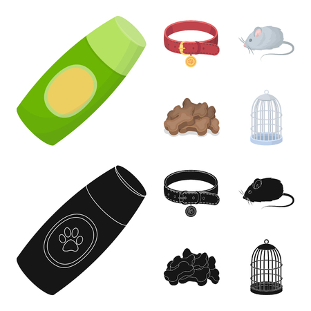 A collar, a forage, a toy, a cage and other products of the zoo store.Pet shop set collection icons in cartoon,black style vector symbol stock illustration web. Çizim