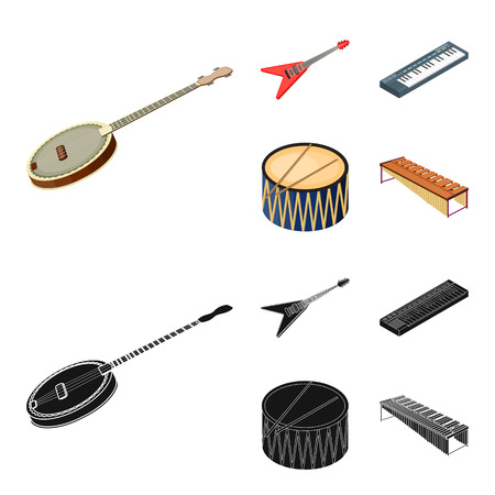 Musical instrument cartoon,black icons in set collection for design. String and Wind instrument isometric vector symbol stock web illustration. Stock Illustratie