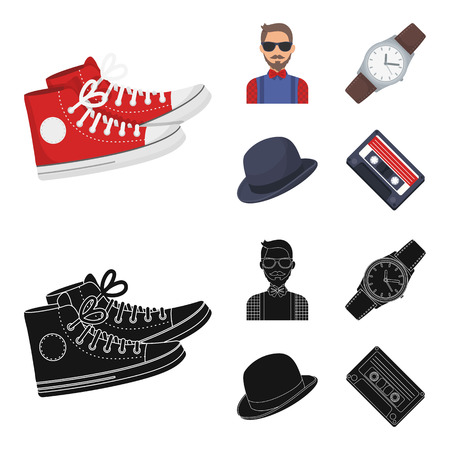 Hipster, fashion, style, subculture .Hipster style set collection icons in cartoon,black style vector symbol stock illustration web.