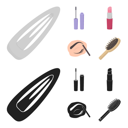 Mascara, hairbrush, lipstick, eyebrow pencil,Makeup set collection icons in cartoon,black style vector symbol stock illustration web.