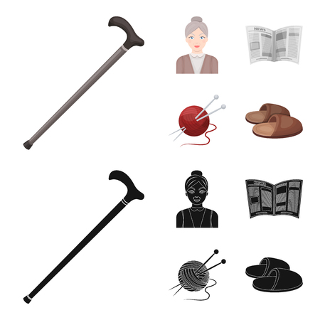An elderly woman, slippers, a newspaper, knitting.Old age set collection icons in cartoon,black style vector symbol stock illustration web.