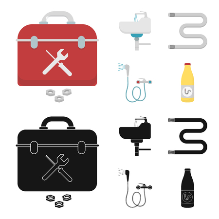 Washbasin, heated towel-dryer, mixer, showers and other equipment.Plumbing set collection icons in cartoon,black style vector symbol stock illustration web.