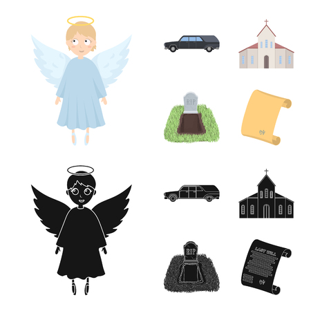 Black cadillac to transport the grave of the deceased, a church for a funeral ceremony, a grave with a tombstone, a death certificate. Funeral ceremony set collection icons in cartoon,black style vector symbol stock illustration web.
