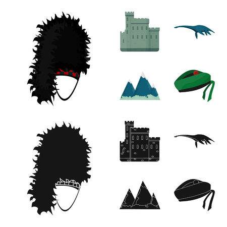 Edinburgh Castle, Loch Ness Monster, Grampian Mountains, national cap balmoral,tam shanter. Scotland set collection icons in cartoon,black style vector symbol stock illustration web. Çizim