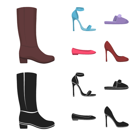 Blue high-heeled sandals, homemade lilac slippers with a pampon, pink women ballet flats, brown high-heeled shoes. Shoes set collection icons in cartoon,black style vector symbol stock illustration web. Illustration