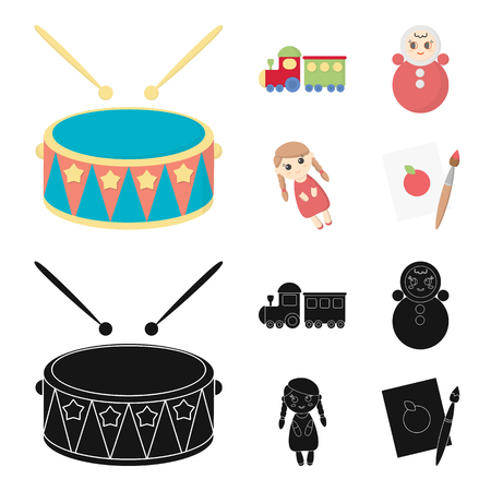 Train.kukla, picture.Toys set collection icons in cartoon,black style vector symbol stock illustration web.