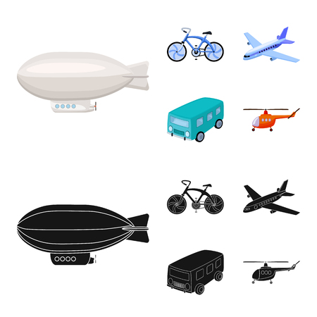 Bicycle, airplane, bus, helicopter types of transport. Transport set collection icons in cartoon,black style vector symbol stock illustration web.